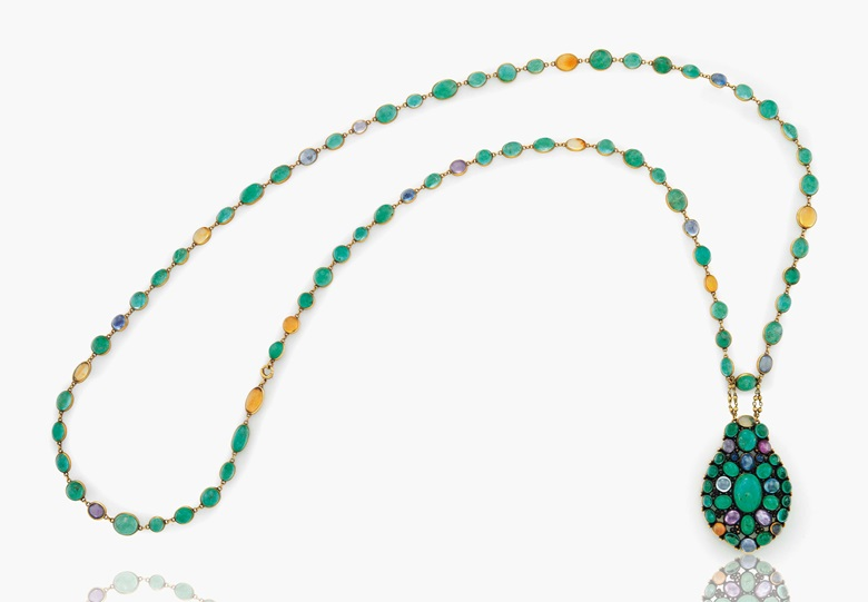 c1babf310 A cabochon emerald, sapphire, coloured sapphire and fire opal pendant  necklace by Louis Comfort