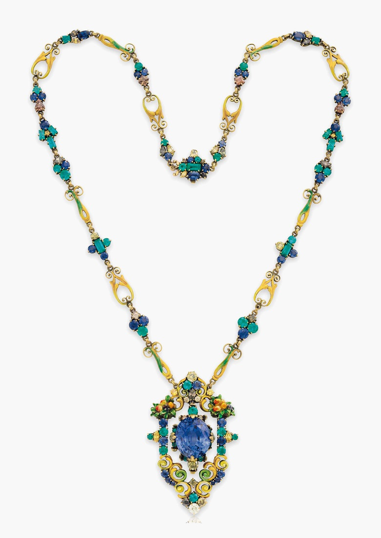 2627d0448 A multi-gem pendant necklace by Louis Comfort Tiffany, Tiffany & Co.  Estimate