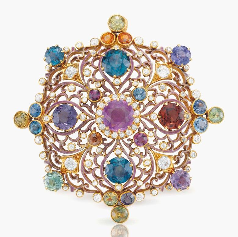 ae85e5323 An antique Renaissance Revival multi-coloured sapphire and diamond pendant  brooch, by Paulding Farnham