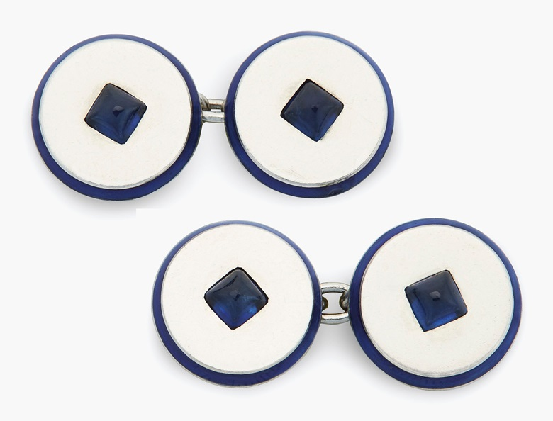 Cartier Art Deco sapphire and enamel cufflinks. Estimate $2,000-3,000. This lot is offered in Christie's Jewels Online on 14-22 June 2017