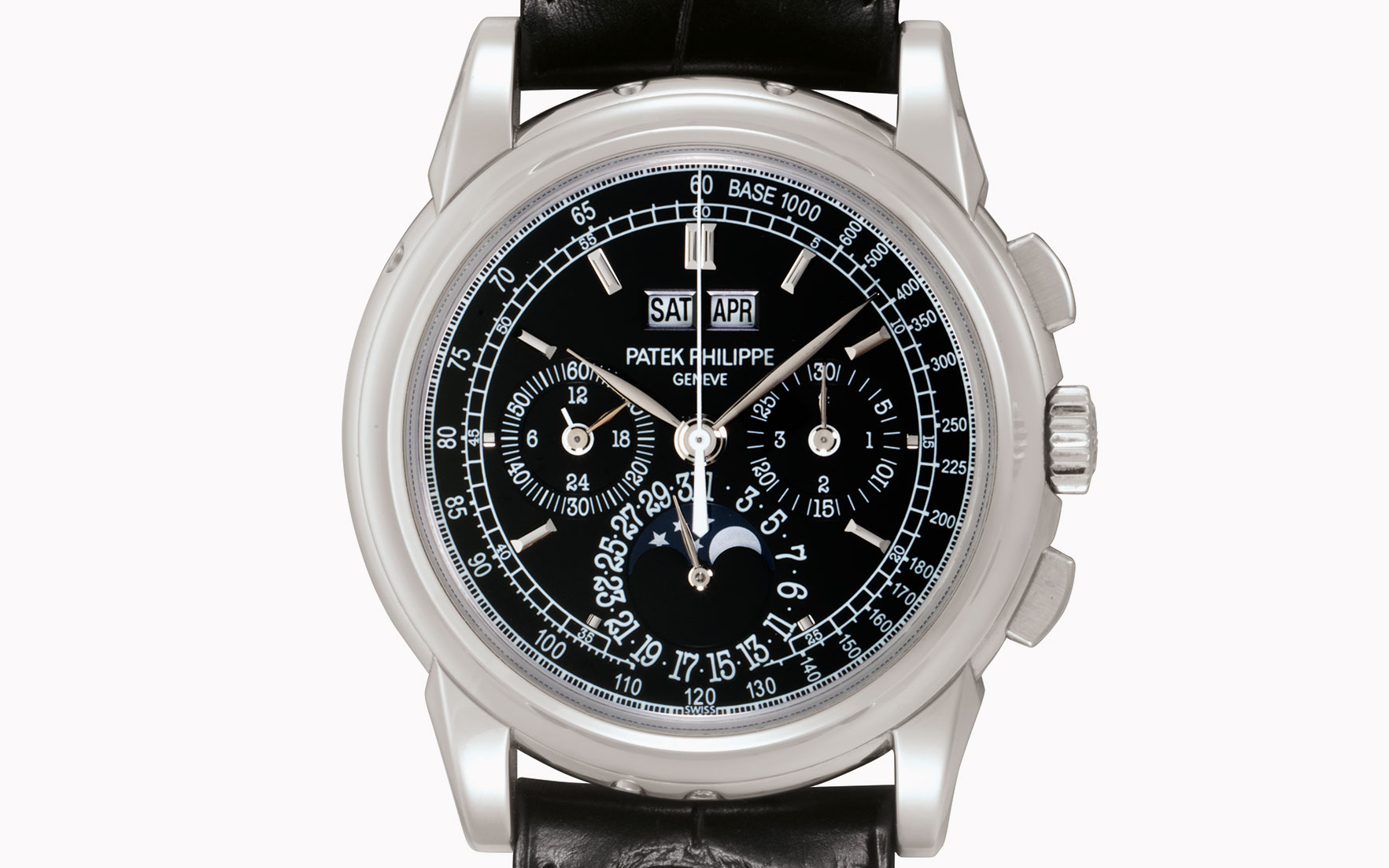 Patek Philippe. A fine and rare platinum perpetual calendar chronograph wristwatch with black dial. Signed Patek Philippe, Genève. Ref. 5970P. Movement No. 3931705. Case No. 4500362.
