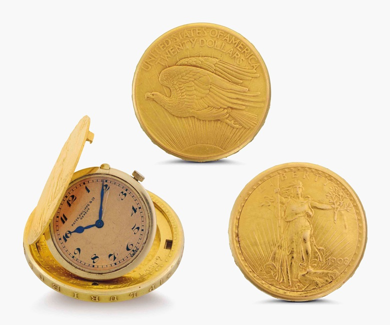 Patek Philippe. A fine 18k gold twenty dollar coin watch. Signed Patek Philippe & Co., Genève. Movement No. 860900. Case No. 505270. Manufactured in 1938. Estimate $10,000-15,000. This lot is offered in Rare Watches and American Icons on 21 June at Christie's in New York