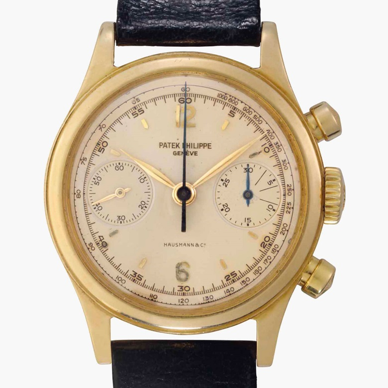 Patek Philippe. A rare 18k gold chronograph wristwatch. Signed Patek Philippe, Genève. Retailed by Hausmann & Co. Ref. 1463, Movement No. 869007. Case No. 2615200. Manufactured in 1958. Estimate $100,000-150,000. This lot is offered in Rare Watches and American Icons on 21 June at Christie's in New York
