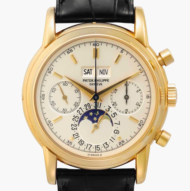 Patek Philippe. A very fine and rare 18k gold Perpetual Calendar Chronograph wristwatch with moon phases. Signed Patek Philippe, Genève. Ref. 2499100, Fourth Series. Movement No. 869252. Case No. 2792108. Manufactured in 1982. Estimate $350,000-550,000. This lot is offered in Rare Watches and American Icons on 21 June at Christie's in New York