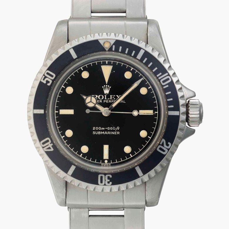 Rolex. A fine and rare stainless steel automatic wristwatch with center seconds and 'Exclamation' dial. Signed Rolex, Oyster Perpetual, 200m=660ft, Submariner. Ref. 5512. Case No. 870590. Circa 1962. Estimate $25,000-50,000. This lot is offered in Rare Watches and American Icons on 21 June at Christie's in New York