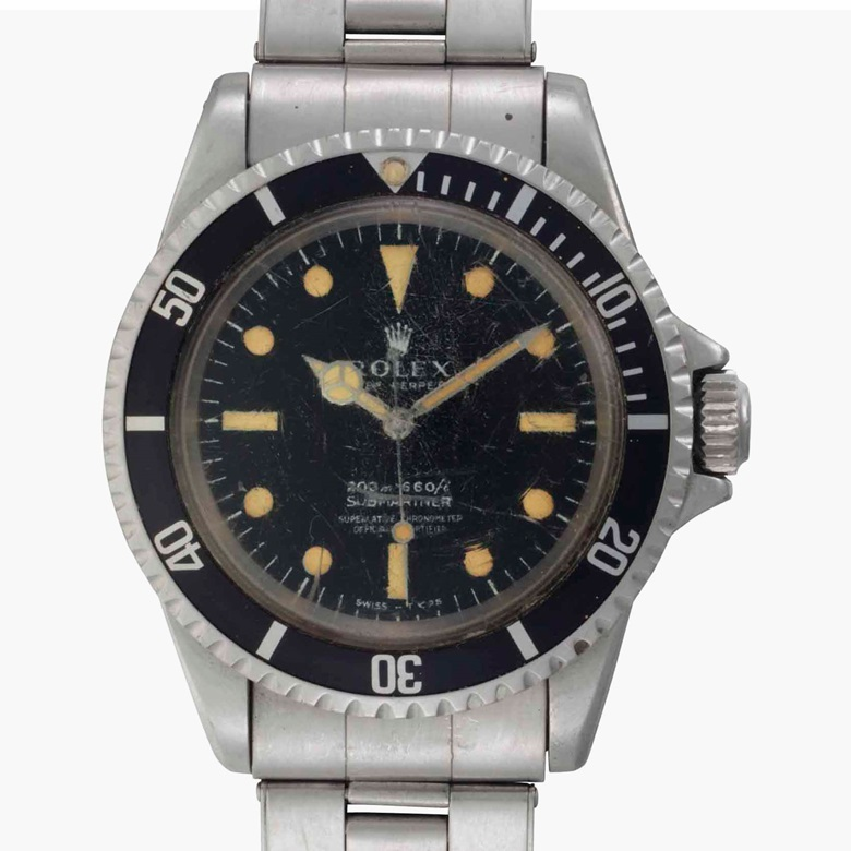 Rolex. A fine stainless steel automatic wristwatch with center seconds and bracelet, worn by scientist John VanDerwalker. Signed Rolex, Oyster Perpetual, 200m=660ft, Submariner. Ref. 5512. Case No. 1744411. Circa 1967. Estimate $15,000-25,000. This lot is offered in Rare Watches and American Icons on 21 June at Christie's in New York