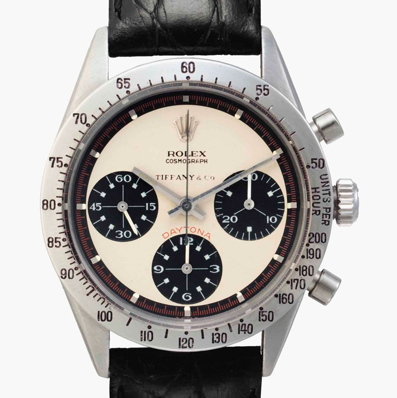Rolex. A very fine and rare stainless steel chronograph wristwatch with 'Paul Newman' dial. Signed Rolex, Retailed by Tiffany & Co., Cosmograph, Daytona, Paul Newman Model. Ref. 6239. Case No. 2002701. Circa 1968. Estimate $200,000-400,000. This lot is offered in Rare Watches and American Icons on 21 June at Christie's in New York