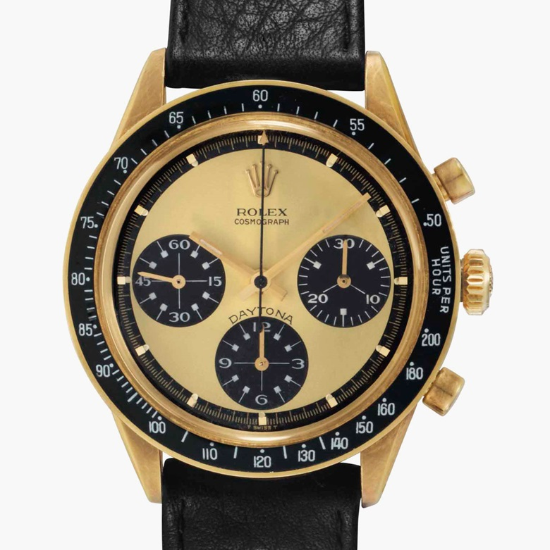Rolex. An extremely rare, fine, and attractive 18k gold chronograph wristwatch with lemon 'Paul Newman' dial and white numerals to the subsidiary dials . Signed Rolex, Cosmograph, Daytona, Paul Newman Model. Ref. 6264. Case No. 2357452. Circa 1969. Estimate $400,000-600,000. This lot is offered in Rare Watches and American Icons on 21 June at Christie's in New York