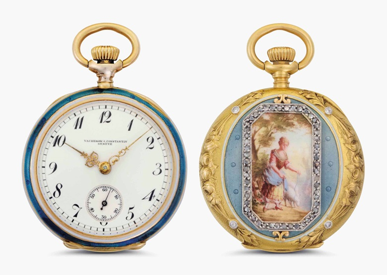 Vacheron Constantin. A fine 18k gold, enamel and diamond-set openface pocket watch with Breguet numerals. Signed Vacheron Constantin, Genève. Movement No. 340027. Case No. 207606. Manufactured in 1907. This lot was offered in Rare Watches and American Icons on 21 June 2017 at Christie's in New York