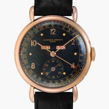 Vacheron Constantin. A fine and rare 18k Pink Gold Triple Calendar Wristwatch with Black Dial. Signed Vacheron Constantin, Genève, Ref. 4241, Movement No. 429905, Case No. 288427, Manufactured in 1945. This lot was offered in Rare Watches and American Icons on 21 June 2017 at Christie's in New York and sold for $20,000