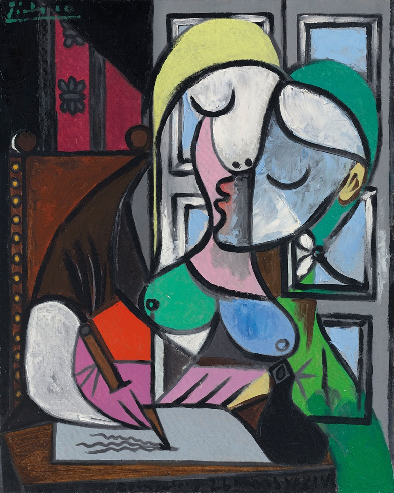 Pablo Picasso (1881-1973), Femme écrivant (Marie-Thérèse). Painted on 26 March 1934 in Boisgeloup. Oil on canvas. 31⅞ × 25½ in (80.9 × 64.7 cm). Sold for £34,885,000 in the Impressionist and Modern Art Evening Sale on 27 June at Christie's London © Succession PicassoDACS, London 2017
