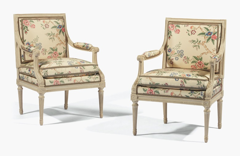 A pair of Louis XVI white-painted fauteuils, attributed to Jean-Baptiste Séné, c. 1785. 36¼ in (92 cm) high; 25½ in (65 cm) wide; 22½ in (57.5 cm) deep. Estimate £20,000-30,000. This lot is offered in European Furniture and Works of Art on 4 July at Christie's London