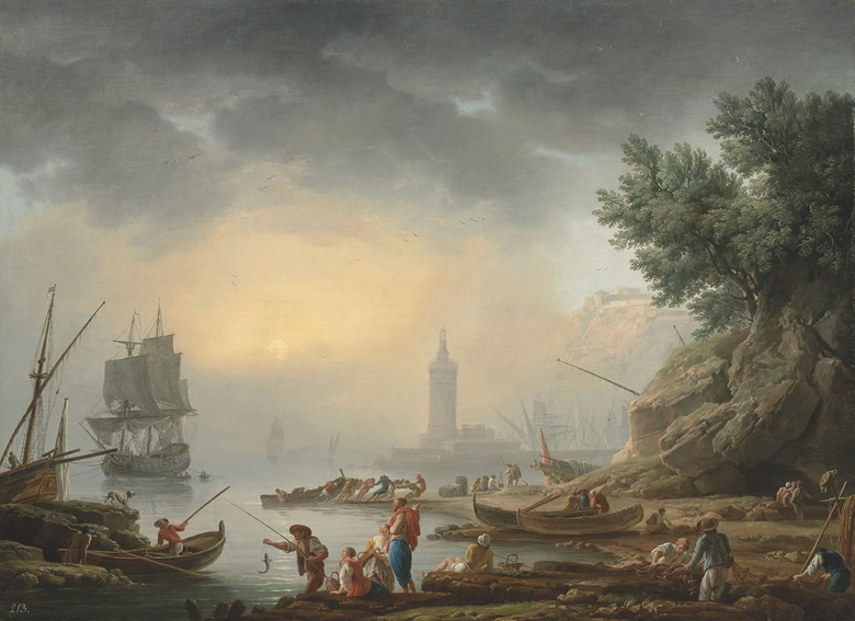 Claude Joseph Vernet (Avignon 1714-1789, A Mediterranean sea-port with fishermen unloading cargo. Oil on canvas, 39⅛ x 53 ½ in (99 x 135.8 cm). Estimate £300,000-500,000. This lot is offered in Old Masters Evening Sale on 6 July 2017 at Christie's in London, King Street