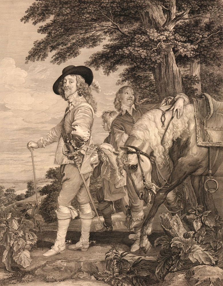 Print of Charles I and the Duke of Hamilton (After Van Dyke, 1782)