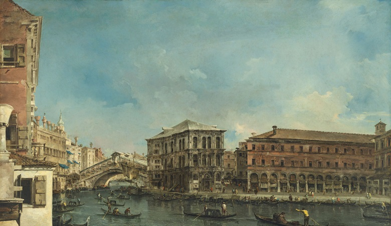 Francesco Guardi (Venice 1712-1793), Venice the Rialto Bridge with the Palazzo dei Camerlenghi. Oil on canvas, 47⅛ x 80½ in (119.7 x 204.3 cm). Sold for £26,505,000 in Old Masters Evening Sale on 6 July 2017 at Christie's in London