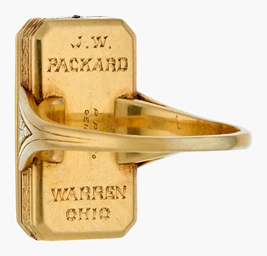 The ring watch has a movement and case bearing James Ward Packard's name