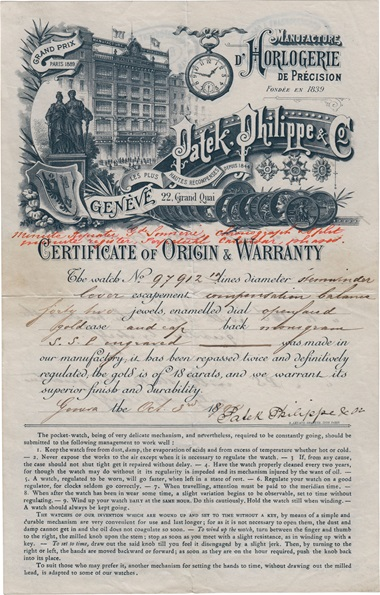 Certificate of Origin and Warranty for the Stephen S. Palmer Patek Philippe Grand Complication No. 97912