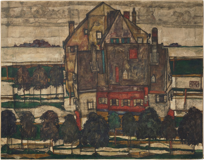 Egon Schiele (1890-1918), Einzelne Häuser (Häuser mit Bergen) (recto); Mönch I (fragment; verso), 1915. Oil on canvas. 431 × 55 in (109.8 × 139.8 cm). Estimate £20-30 million. This work is offered in the Impressionist and Modern Art Evening Sale on 27 June at Christie's London