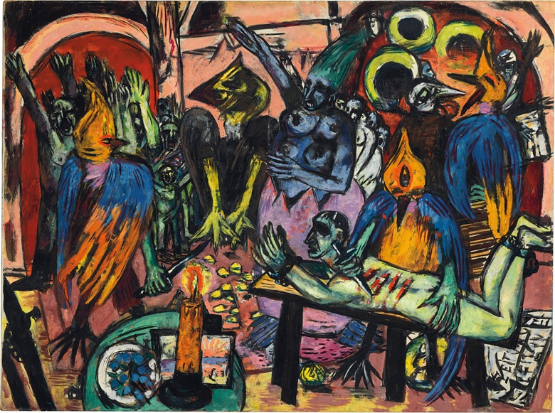 Max Beckmann (1884-1950), Hölle der Vögel, 1937-38. Oil on canvas. 47⅛ × 63 in (119.7 × 160.4 cm). Estimate on request. This work is offered in the Impressionist and Modern Art Evening Sale on 27 June at Christie's London © DACS 2017