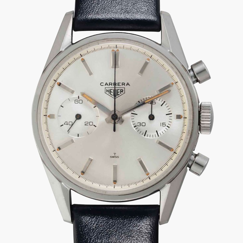 Heuer. A fine stainless-steel chronograph wristwatch. Signed Heuer, Carrera, Ref. 3647S, No. 61844, circa 1965. Estimate $10,000-15,000. This lot is offered in Rare Watches and American Icons on 21 June at Christie's in New York