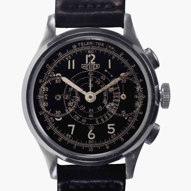 Heuer. A rare stainless-steel chronograph wristwatch with black dial. Signed Heuer, No. 41452, circa 1941. Estimate $4,000-6,000. This lot is offered in Rare Watches and American Icons on 21 June at Christie's in New York