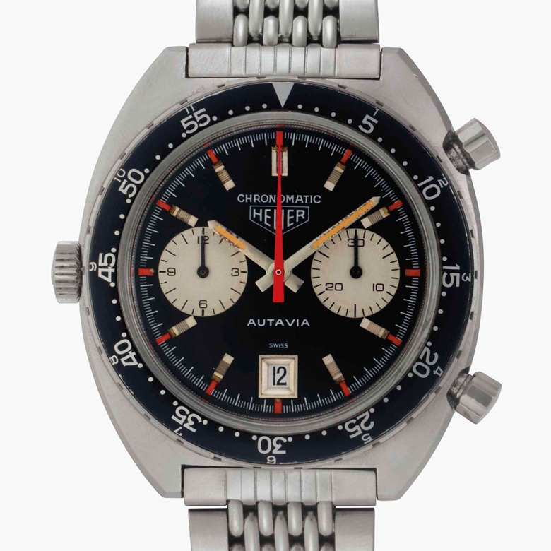 Heuer. A very fine and rare stainless-steel automatic chronograph wristwatch with date and bracelet. Signed Heuer, Autavia, Chronomatic Model, Ref. 1163MH, Case No. 141206, circa 1970. Estimate $50,000-80,000. This lot is offered in Rare Watches and American Icons on 21 June at Christie's in New York