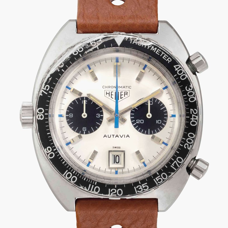 Heuer. An extremely rare stainless-steel automatic chronograph wristwatch with date and 'Jo Siffert' dial. Signed Heuer, Autavia, Chronomatic Model, Ref. 1163T, Case No. 141'373, circa 1969. Estimate $40,000-80,000. This lot is offered in Rare Watches and American Icons on 21 June at Christie's in New York