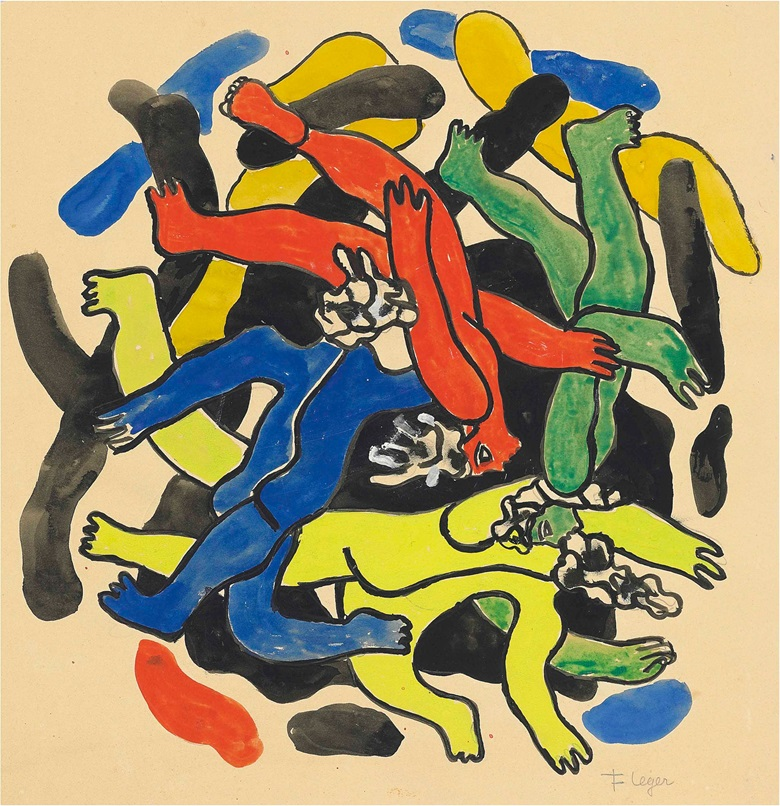 Fernand Léger (1881-1955), Les plongeurs, circa 1942. Gouache on paper, image 15 x 15 in (38 x 38 cm), sheet 22 x 20⅛ in (56 x 51.2 cm). Estimate £80,000-100,000. This lot is offered in Impressionist and Modern Works on Paper on 28 June at Christie's London