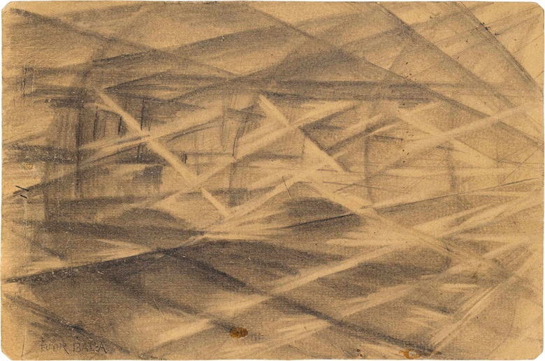 Giacomo Balla (1871-1958), Studio per Plasticità di luci + velocità , circa 1912-13. Charcoal on cardboard, 6 x 9 in (15.2 x 23 cm). Estimate £50,000-80,000. This lot is offered in Impressionist and Modern Works on Paper on 28 June 2017 at Christie's in London, King Street