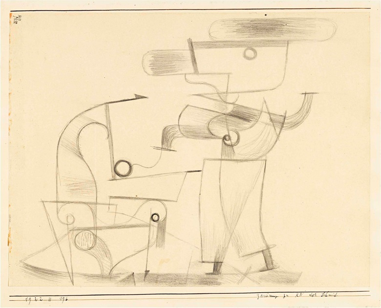 Paul Klee (1879-1940), Zeichnung zu KN der Schmid (Drawing for KN the Blacksmith), 1922. Pencil on paper laid down on the artists mount, sheet 8⅝ x 11⅜ in (22 x 28.8 cm), mount 10⅛ x 12⅜ in (25.6 x 31.6 cm). Estimate £30,000-40,000. This lot is offered in Impressionist and Modern Works on Paper on 28 June at Christie's London