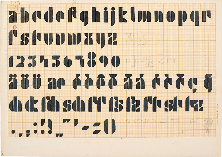 Josef Albers, Design for a Universal Typeface, c. 1926. Pencil, red pencil, and black ink on orange ruled graph paper. 21.3 x 29.8 cm (8⅜ x 11¾ in). Photo Tim NighswanderImaging4Art. © The Josef and Anni Albers FoundationVG Bild-Kunst, Bonn and DACS, London 2017