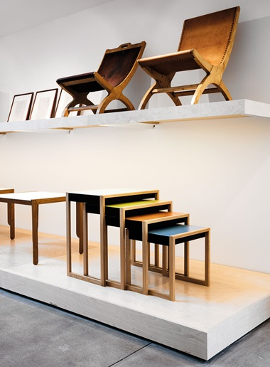 Josef Albers furniture designs in the Trunk building, clockwise from top left Studies for Mexican Chair; Mexican Chair A and Mexican Chair B, both circa 1940; Stacking tables, circa 1927; Tea table, circa 1928. Photo Jesse Chehak. © The Josef and Anni Albers FoundationVG Bild-Kunst, Bonn and DACS, London 2017