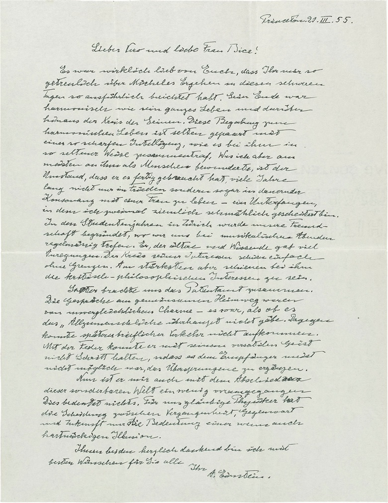 1955. Einstein's great letter of condolence to Besso's son, Vero, and sister, Bice Rusconi — Einstein, Albert (1879-1955), autograph letter signed (A. Einstein), Princeton, 21 March 1955. Estimate £30,000-50,000. This lot is offered in Valuable Books and Manuscripts on 12 July 2017 at Christie's in London, King Street