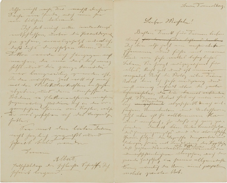 1903. Written just weeks after his marriage to Mileva Maric in January, this letter sees Einstein in a jovial mood, discussing a scientific paper he has just sent off despite being bed-bound with the flu — Einstein as a newly married man. Bern, late January 1903. Estimate $5,000-7,000. This lot is offered in Einstein Letters to a Friend Part I, 6-13 July, Online