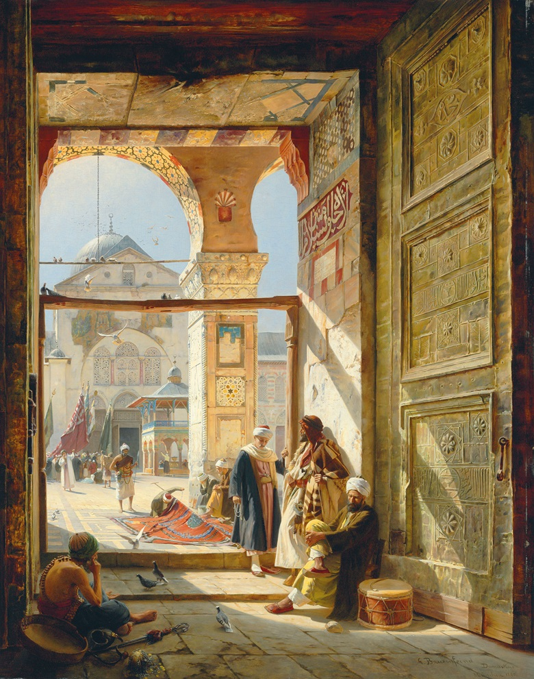 Gustav Bauernfeind (German, 1848-1904), The Gate of the Great Umayyad Mosque, Damascus, 1890. Oil on panel. 47⅝ x 38 in (121 x 96.5 cm). Sold for £2,505,250 on 2 July 2008 at Christie's London