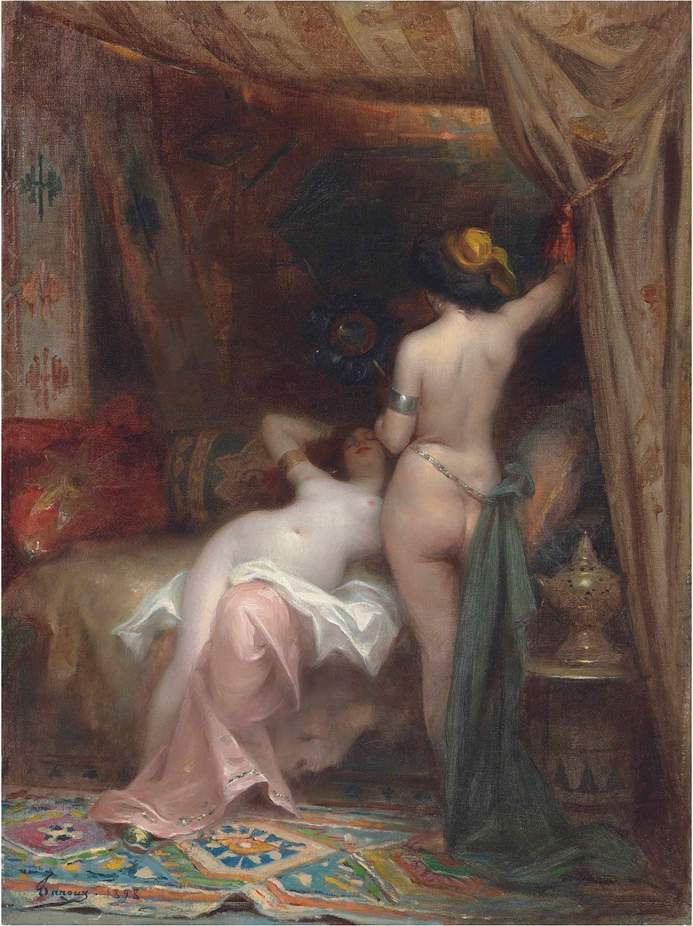 Henri Adrien Tanoux (French, 1865-1923), In the Harem, 1898. Oil on canvas, 24⅛ x 18⅜ in (61.2 x 46.6 cm). This lot was offered in 19th Century European & Orientalist Art on 13 July 2017 at Christie's in London and sold for £17,500