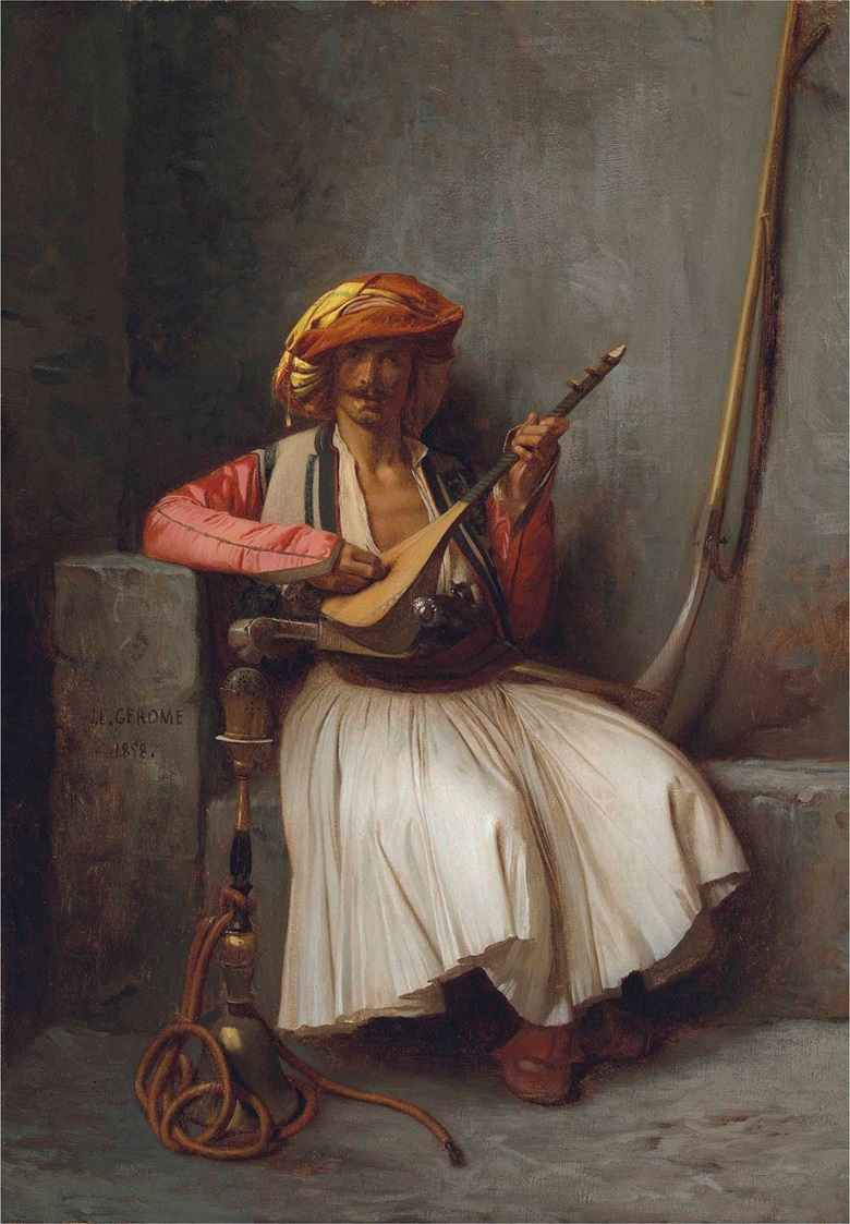 Jean-Léon Gérôme (French, 1824-1904), The Mandolin Player, 1858. Oil on canvas, 16¼ x 11⅜ in (41.2 x 29 cm). This lot was to be offered in 19th Century European & Orientalist Art on 13 July 2017 at Christie's in London and withdrawn