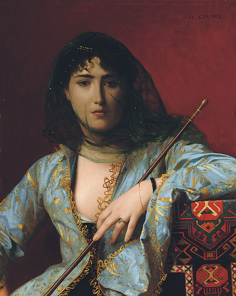 Jean-Léon Gérôme (French, 1824-1904), Femme circassienne voilée Veiled Circassian Beauty, 1876. Oil on canvas. 16 x 12⅞ in (40.7 x 32.6 cm). Sold for £2,057,250 on 2 July 2008 at Christie's London
