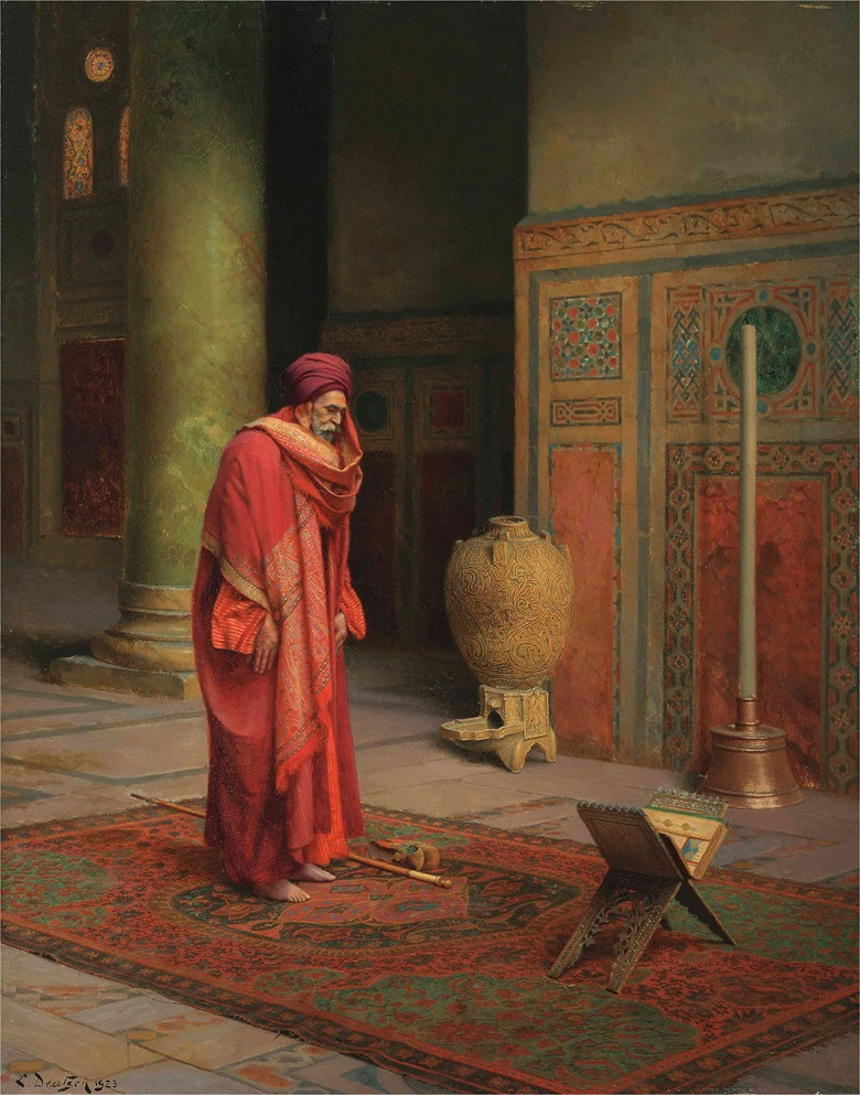 Ludwig Deutsch (Austrian, 1855-1935), At Prayer, 1923. Oil on panel, 22 x 17⅜ in (55.9 x 44.1 cm). This lot was offered in 19th Century European & Orientalist Art on 13 July 2017 at Christie's in London and sold for £605,000