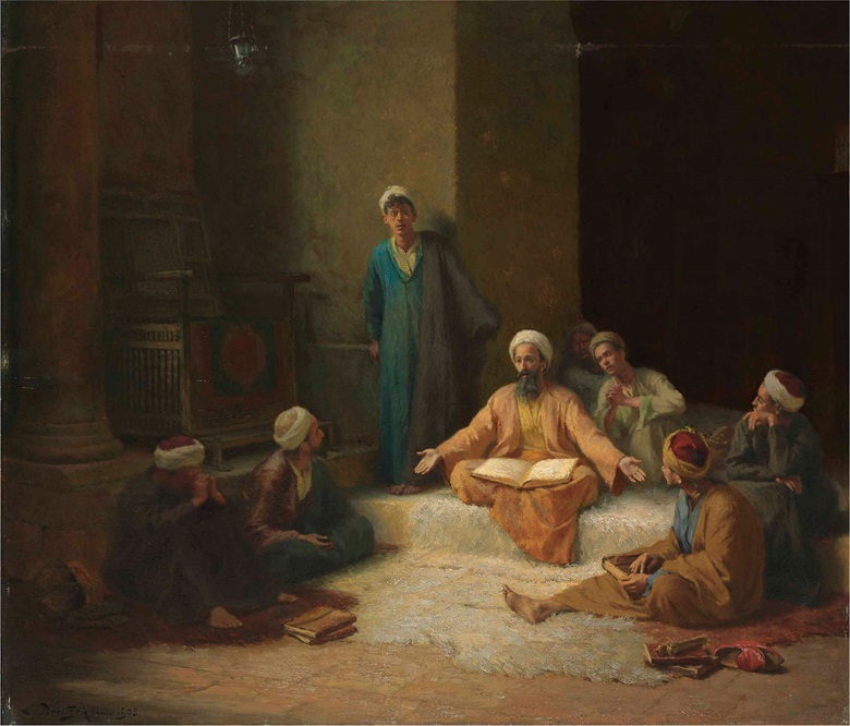 Ludwig Deutsch (Austrian, 1855-1935), The Koran School, 1905. Oil on panel, 27½ x 32 in (69.9 x 81.3 cm). This lot was offered in 19th Century European & Orientalist Art on 13 July 2017 at Christie's in London