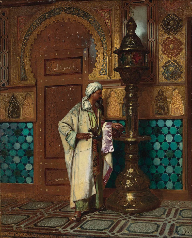 Rudolf Ernst (Austrian, 1854-1932), Tending the Lamp. Oil on panel, 22⅞ x 19⅛ in (58 x 47.5 cm). This lot was offered in 19th Century European & Orientalist Art on 13 July 2017 at Christie's in London and sold £81,250