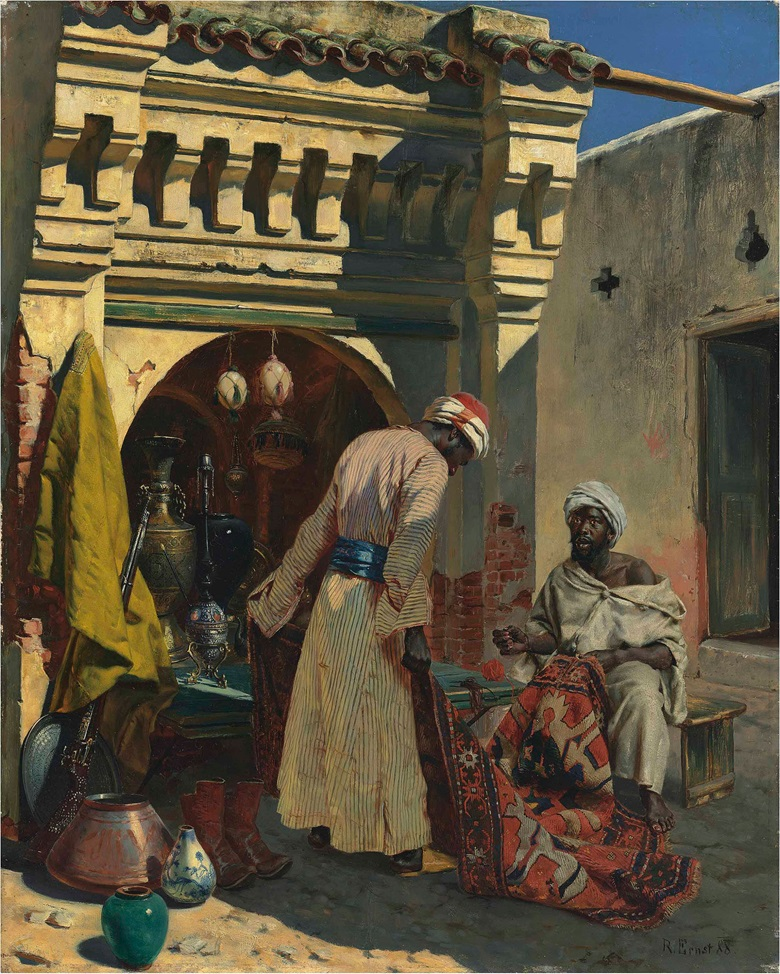 Rudolf Ernst (Austrian, 1854-1932), The Rug Merchant, 1888. Oil on panel, 24 x 19¼ in (62 x 50 cm). This lot was offered in 19th Century European & Orientalist Art on 13 July 2017 at Christie's in London and sold for £112,500