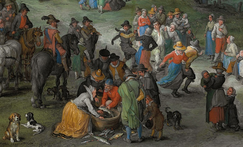 Buyers gather around a seller of fish, while careless dancers cavort in the background