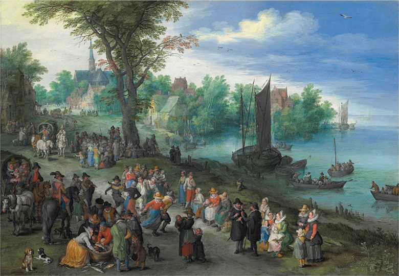 Jan Brueghel I (Brussels 1568-1625 Antwerp), Figures dancing on the bank of a river with a fish-seller, with a portrait of the artist in the foreground, 1616. Oil on copper. 10 x 14¾ in (25.5 x 37.5 cm). Estimate £5,500,000-8,000,000. This work is offered in the Old Masters Evening Sale on 6 July at Christie's London