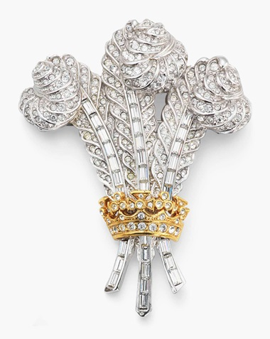 A group of costume jewellery, comprising three costume brooches, one colourless paste brooch designed as a star, by Butler and Wilson. Estimate £500-800. This lot is offered in The Collection of Raine, Countess Spenceron 13 July 2017 at Christie's in London, King Street