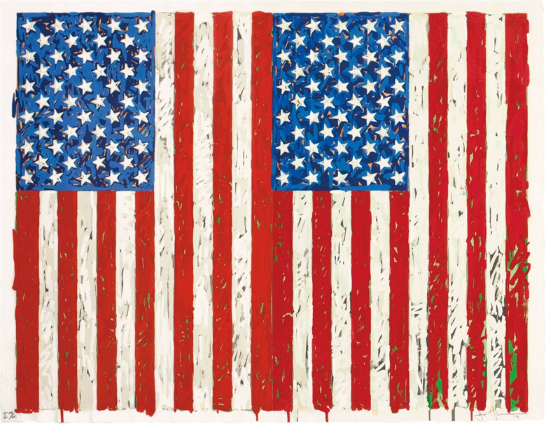Jasper Johns (b.  1930), Flags I, 1973. Screenprint in colours, on J. B. Green paper, signed, titled and dated in pencil, numbered 5965 (there were also 7 artists proofs), co-published by the artist and Simca Print Artists, Inc., New York, with their blindstamp, the full sheet, in very good condition, framed.  Sheet 27⅜ x 35¼ in (695 x 895 mm). Sold for $1,685,000 on 27 April 2016, at
