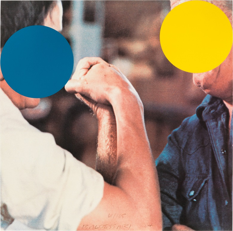 John Baldessari (b. 1931), Two Opponents (Blue and Yellow), 2004. Sheet 11⅞ x 11⅞ in (302 x 302 mm). This lot was offered in Contemporary Editions, 11-19 July Online, and sold for $6,000