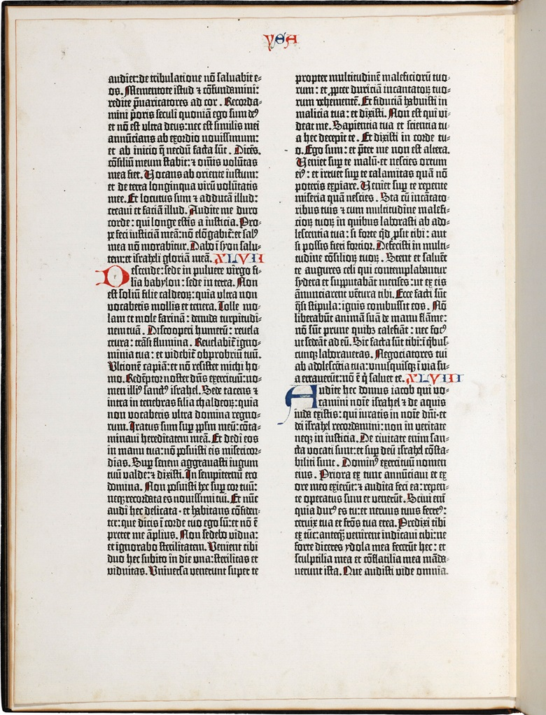 A single paper leaf from the Gutenberg Bible, the first substantial book printed with moveable type. A fine leaf from the Gutenberg Bible, being the end of Chapter 45 through the beginning of Chapter 48 of Isaiah. Sold for $50,000 on 15 June 2017 at Christie's in New York