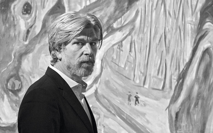 Karl Ove Knausgaard with Munch's Elm Forest in Spring, 1923-25