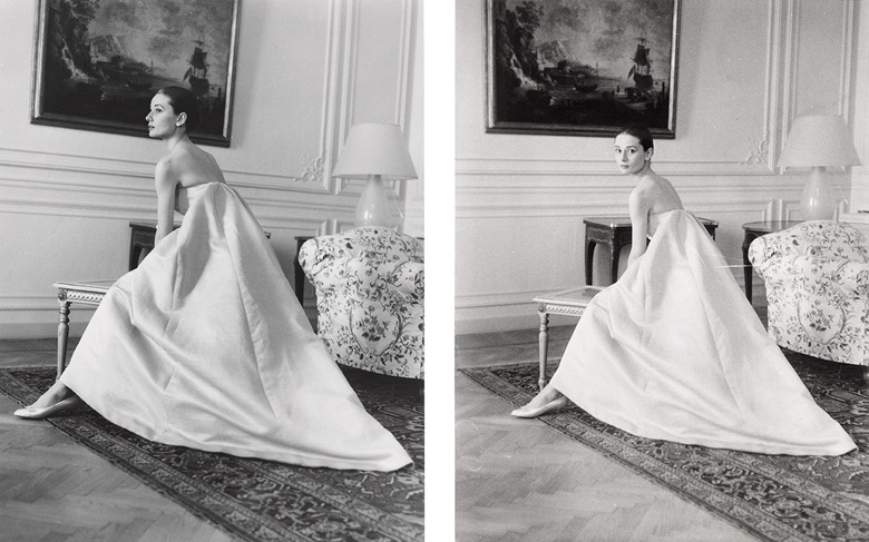 The Nun's Story, 1959 — Howell Conant (1916-1999), Audrey Hepburn at a dress fitting with Hubert de Givenchy for the premiere of The Nuns Story, circa 1959. Each sheet 9⅝ x 7⅛  in (24.3 x 18  cm). Estimate £800-1,200. This lot is offered in Audrey Hepburn The Personal Collection on 27 September 2017  at Christie's in London